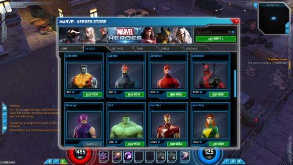 marvel heroes storefront